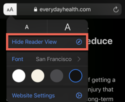 Hide reader view option