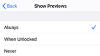 Show previews options: always, when locked, never