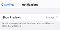 Notification- Show Previews field